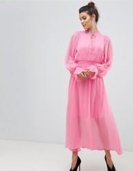 Y.A.S Tie Neck Chiffon Spot Maxi Dress - Pink