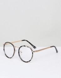 YHF Lindsay Round Clear Lens Glasses In Black - Black