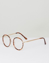 YHF Lindsay Round Clear Lens Glasses In Tort - Brown