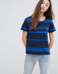 YMC Engineered Stripe T-Shirt - Navy