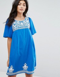 YMC Floral Embroidery Dress - Blue