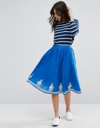 YMC Floral Embroidery Skirt - Blue