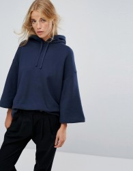 YMC Hooded Cropped Sleeve Sweater - Navy