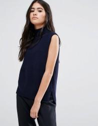 YMC Merino Wool Roll Neck Knit Tank Top - Blue