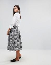 YMC Patchwork Midi Skirt - Grey