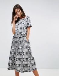 YMC Patchwork Ruffle Midi Dress - Grey