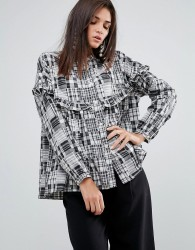 YMC Patchwork Ruffle Shirt - Grey
