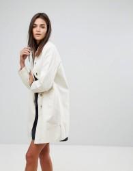 YMC Round Collar Mac Coat - White