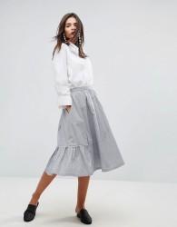YMC Scalloped Edged Cotton A-Line Midi Skirt - Blue
