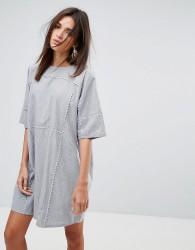 YMC Scalloped Edged Cotton Shift Dress - Blue