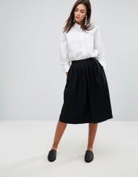 YMC Wool Blend Pleated Midi Skirt - Black