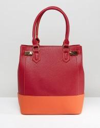 Yoki Contrast Panel Tote Bag - Red