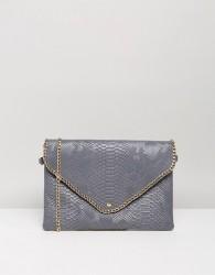 Yoki Croc Effect Clutch Bag With Detachable Strap - Grey