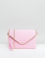Yoki Croc Effect Clutch Bag With Detachable Strap - Pink