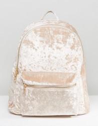 Yoki Crushed Velvet Backpack - Beige
