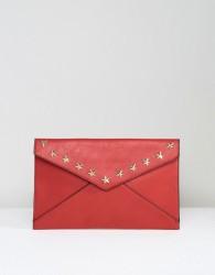 Yoki Envelope Clutch Bag With Star Studding - Red