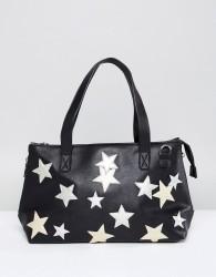 Yoki Fashion Black Holdall with Applique Stars - Black