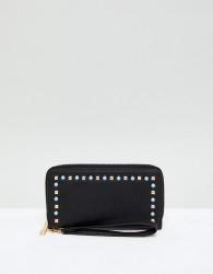 Yoki Fashion Black Purse with Pearl Embellishment - Black