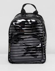 Yoki Fashion Black Striped Plastic Backpack - Black