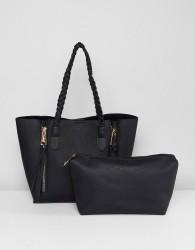 Yoki Fashion Black Tote with Zips - Black