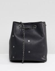 Yoki Fashion Bucket Bag with Star Studs - Black