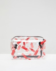 Yoki Fashion Cosmetic Bag with Red Lip Print - Red