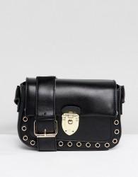 Yoki Fashion Cross Body Bag with Clasp Closure - Black