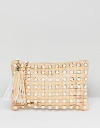 Yoki Fashion Pearl Embellished Clutch with Detatchable Strap - Beige