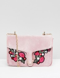 Yoki Fashion Pink Velvet Bag with Embroidered Flowers - Pink
