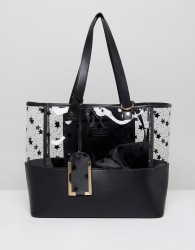 Yoki Fashion Plastic Tote with Black Stars - Black