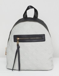 Yoki Fashion Quilted Backpack with Contrast Black Zip - Grey