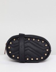 Yoki Fashion Quilted Bum Bag in Black with Studs - Black