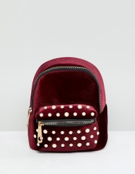 Yoki Fashion Red Backpack with Pearl Embellishment - Red
