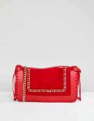 Yoki Fashion Red Cross Body Bag with Chain Detail - Red