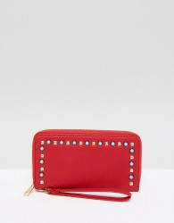 Yoki Fashion Red Purse with Pearl Embellishment - Red