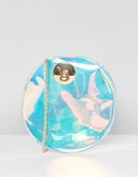 Yoki Fashion Round Irridscent Cross Body Bag - Silver