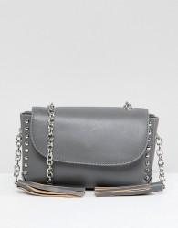Yoki Fashion Small Cross Body Bag with Studs and Tassels - Grey