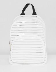 Yoki Fashion White Striped Plastic Backpack - White
