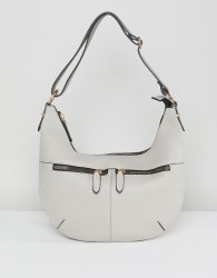 Yoki Fashion Zip Detail Slouch Shoulder Bag - Grey