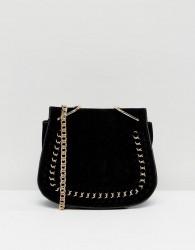 Yoki Fashions Suede Effect Across Body Saddle Bag - Black