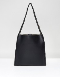 Yoki Simple Shoulder Bag With Mini Pouch - Black