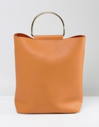 Yoki Slouch Shoulder Bag With Metal Ring - Tan