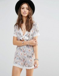 Young Bohemians Playsuit With Tie Front And Lace Trim Hems - Multi