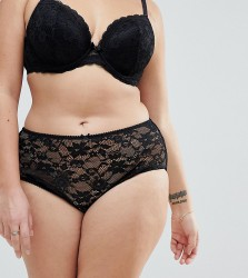 Yours All Over Lace Brief - Black
