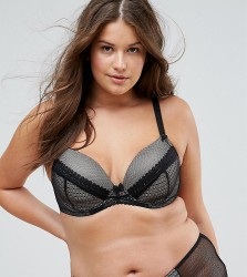 Yours Black Mixed Texture Bra - Black