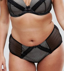 Yours Black Mixed Texture Brief - Black
