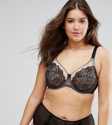 Yours Clothing Pretty Lace Bra - Black