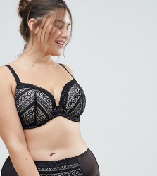 Yours Geo Stripe Lace Bra - Black