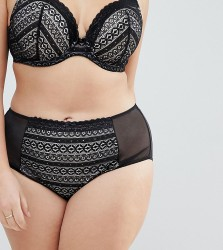 Yours Geo Stripe Lace Brief - Black