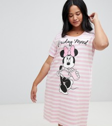 Yours Minnie Mouse Friday Mood Stripe Nightshirt - Pink